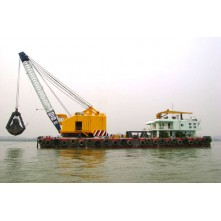Grab dredger barge