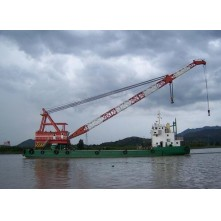 100T floating crane barge