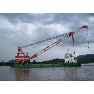 100T floating crane barge